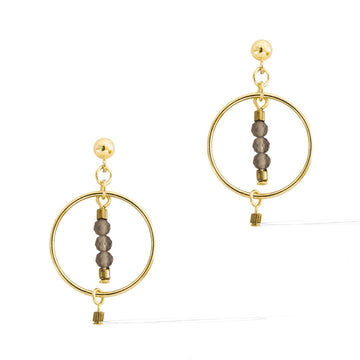 Halo Equilibria Earrings - Gold and Smoky Quartz
