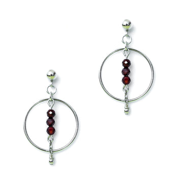 Halo Equilibria Earrings - Silver and Red Garnet