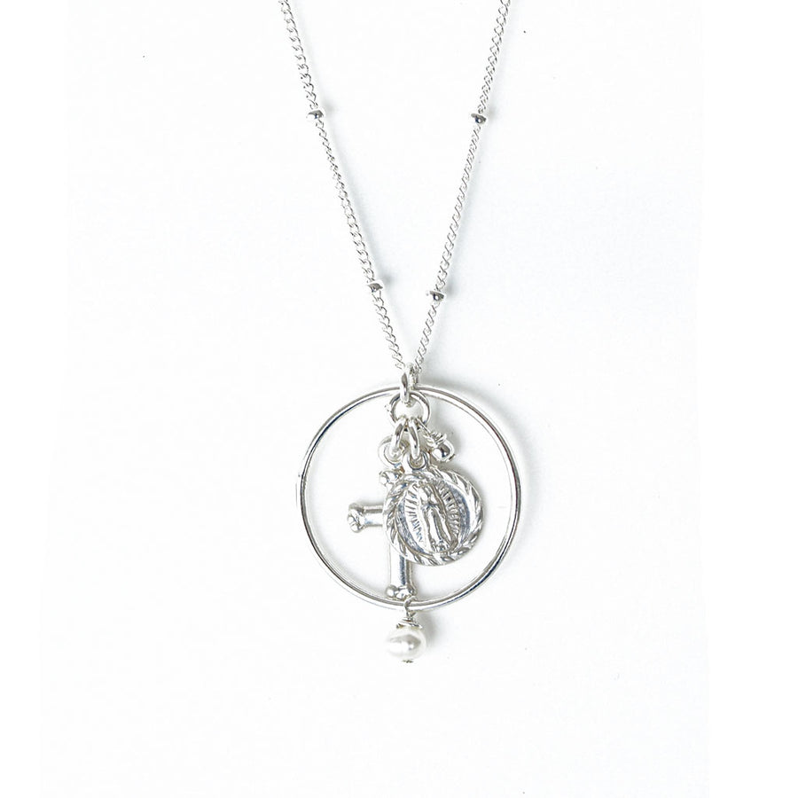 Halo Faith Trinity Necklace – Silver