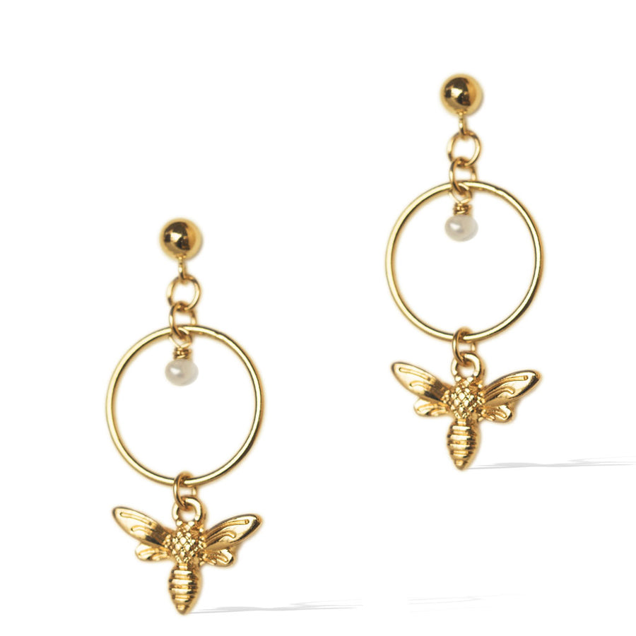 Halo Honey Bee Earrings - Gold and Pearl