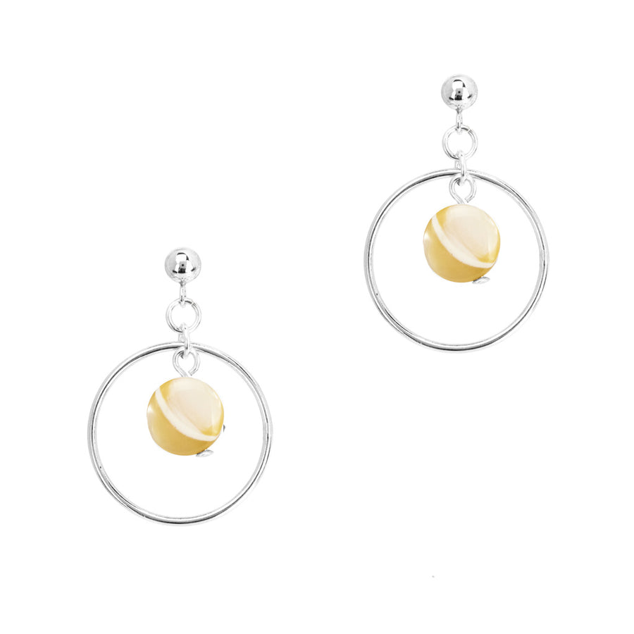 Halo Moonglow Earrings - Silver and Mother of Pearl
