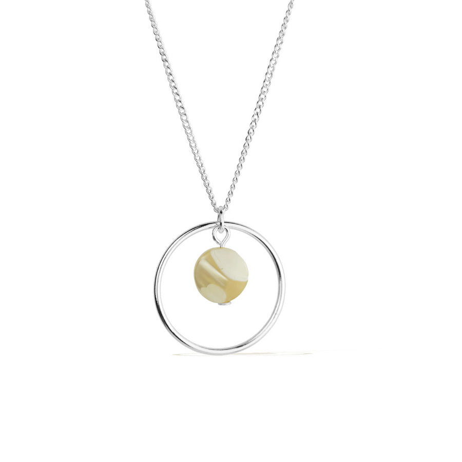 Halo Moonglow Necklace - Silver and Mother of Pearl