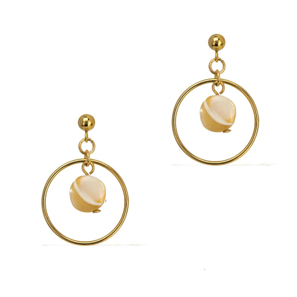 Halo Moonglow Earrings Gold and Mother of Pearl