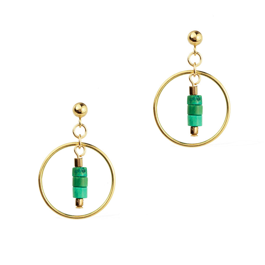 Halo Sage earrings - Gold and Turquoise
