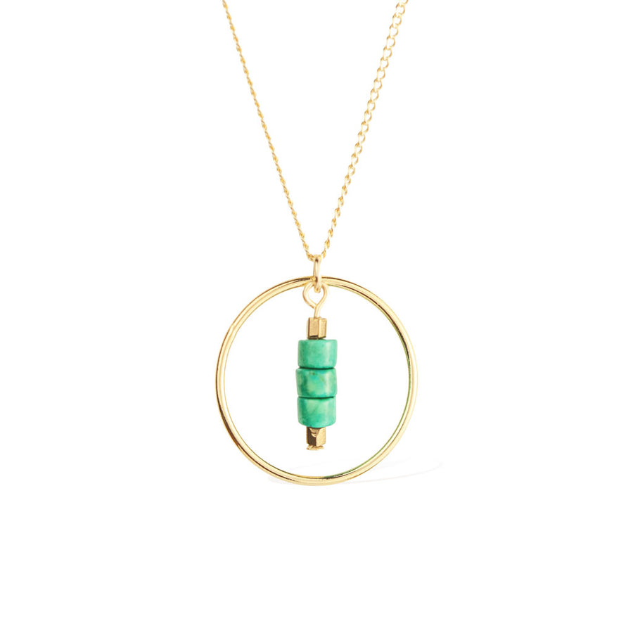 Halo Sage Necklace - Gold and Turquoise