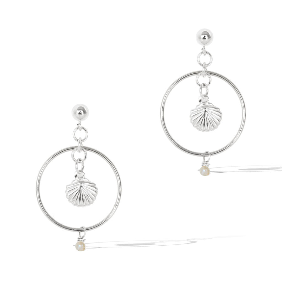 Halo Seashore Earrings - Silver and Pearl
