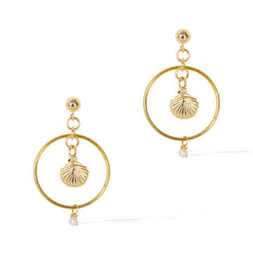 Halo Seashore Earrings - Gold and Pearl