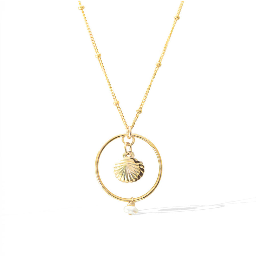 Halo Seashore Necklace - Gold and Pearl