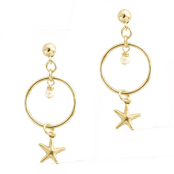 Halo Starfish Earrings - Gold and Pearl