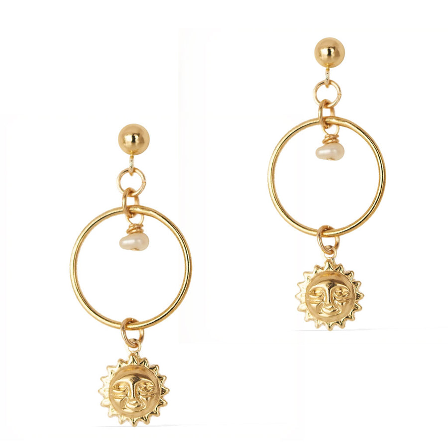 Halo Sun Earrings - Gold and Pearl