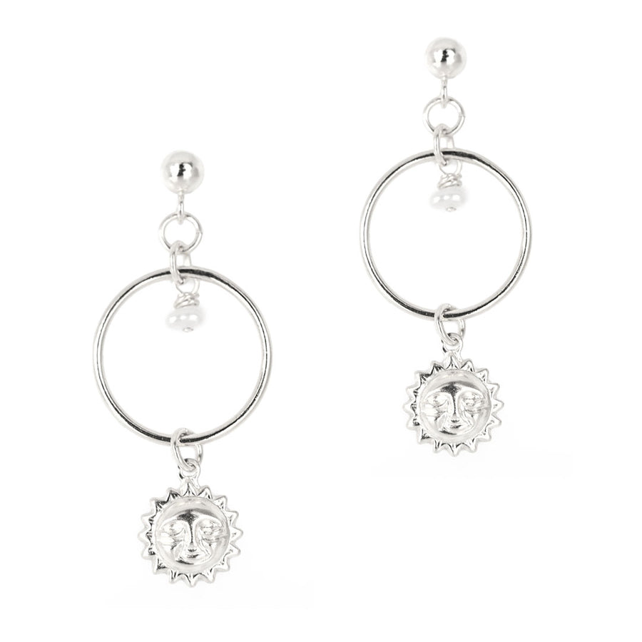 Halo Sun Earrings - Silver and Pearl