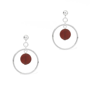 Halo Sunrise Earrings - Silver and Red Agate