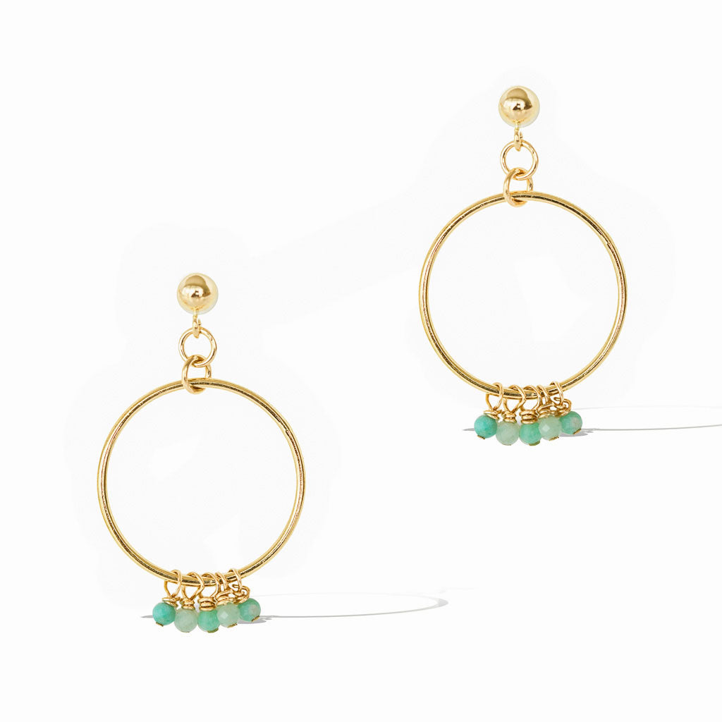 Halo Constellation Earrings - Gold and Amazonite