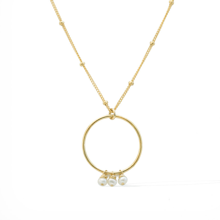 Halo Constellation Necklace - Gold and Pearl