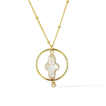 Halo Cross Necklace  satellite chain- Gold and Pearl