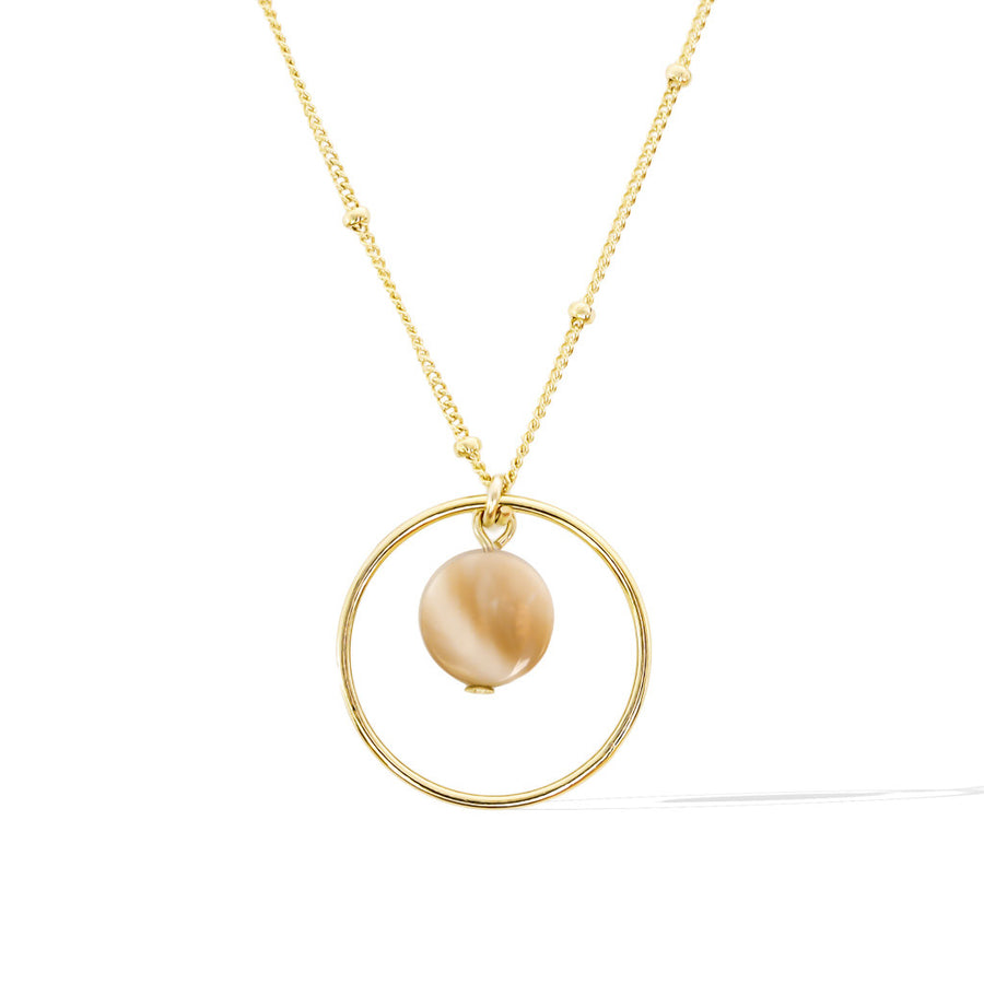 Halo Moonglow Necklace - Gold and Mother of Pearl Satellite chain
