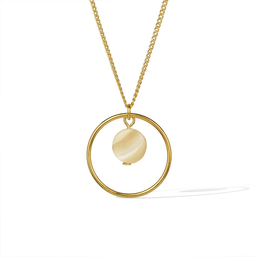 Halo Moonglow Necklace trace chain - Gold and Mother of Pearl