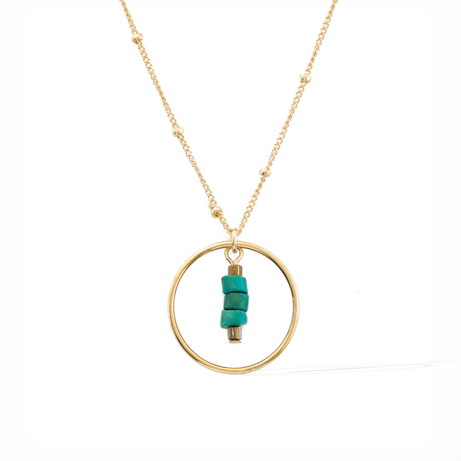 Halo Sage Necklace - Gold and Turquoise satellite chain