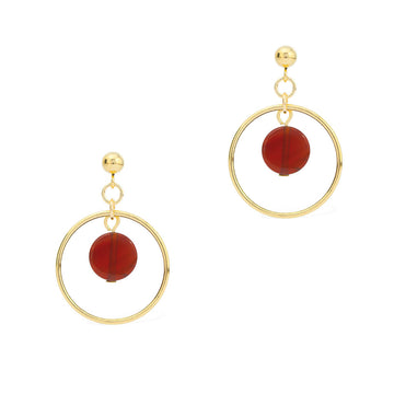 Halo Sunrise Earrings - Gold and Red Agate