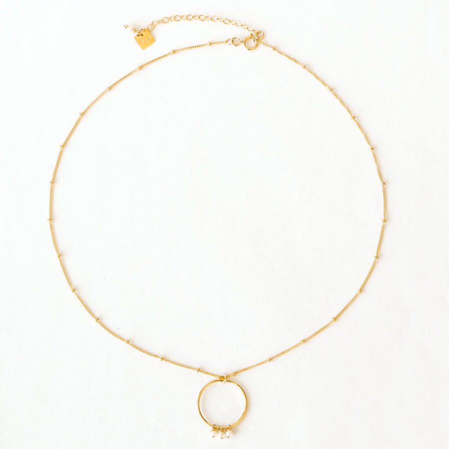 Halo Constellation Necklace - Gold and Pearl top view