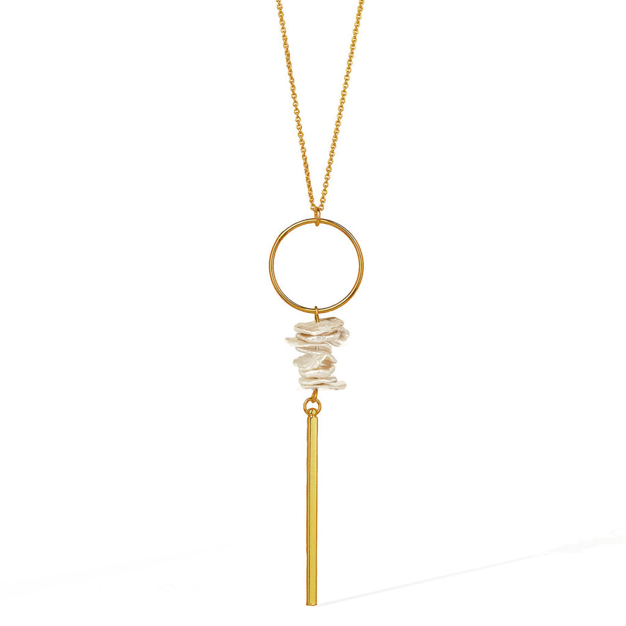 Halo Keishi Bar Necklace - Gold and Pearl