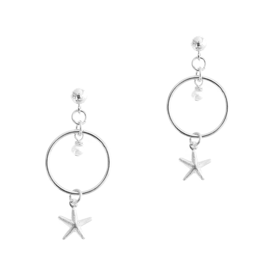 Halo Starfish Earrings - Silver and Pearl