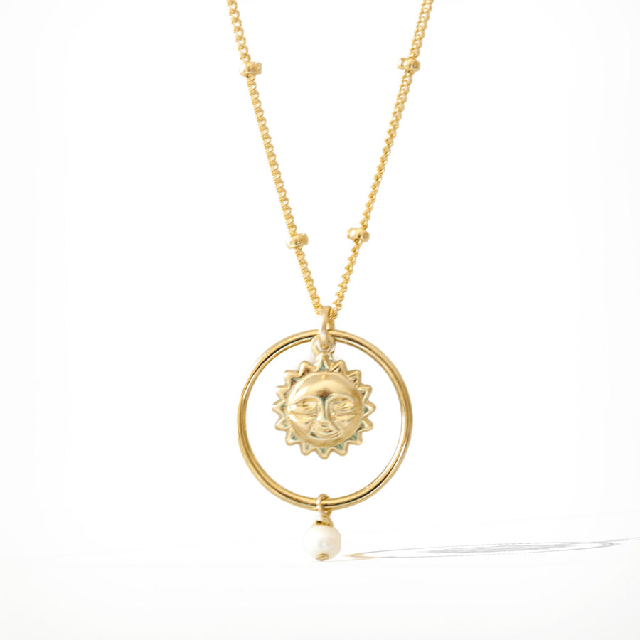 Halo Sun Necklace - Gold and Pearl