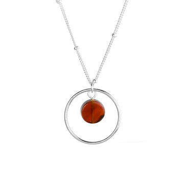 Halo Sunrise Necklace - Silver and Red Agate