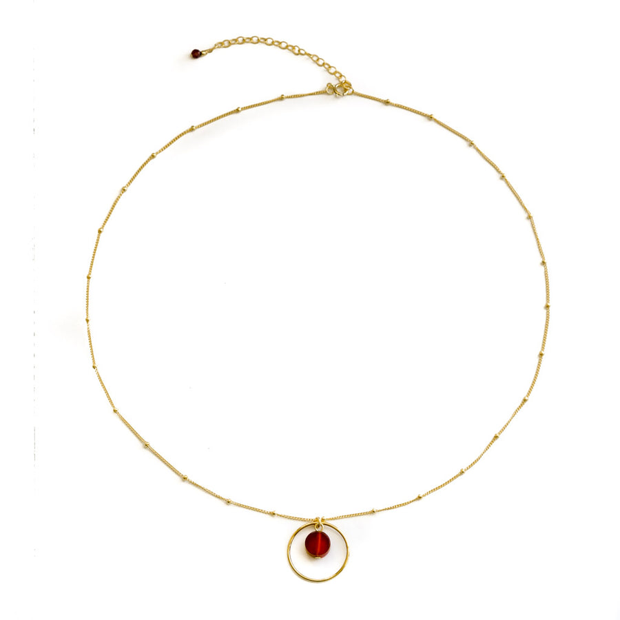 Halo Sunrise Necklace - Gold and Red Agate top view