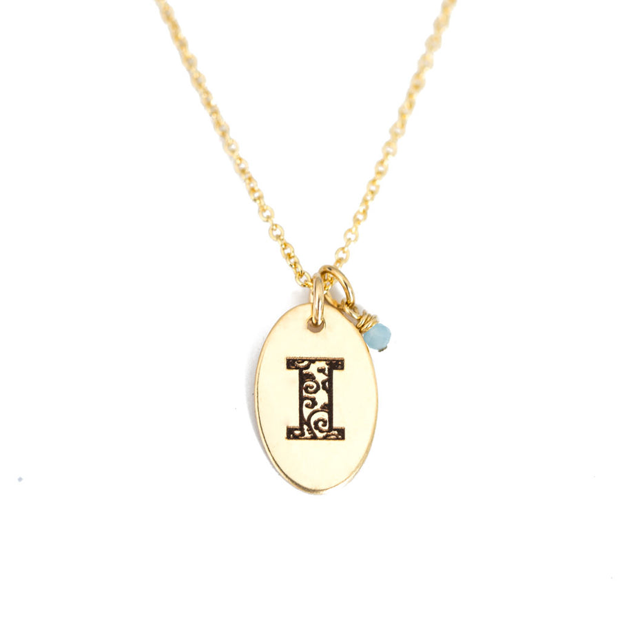 I - Birthstone Love Letters Necklace Gold and Aquamarine