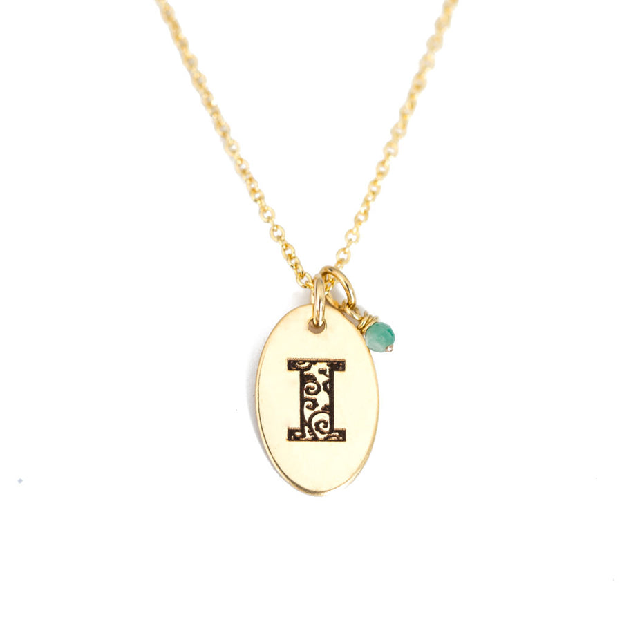 I - Birthstone Love Letters Necklace Gold and Emerald