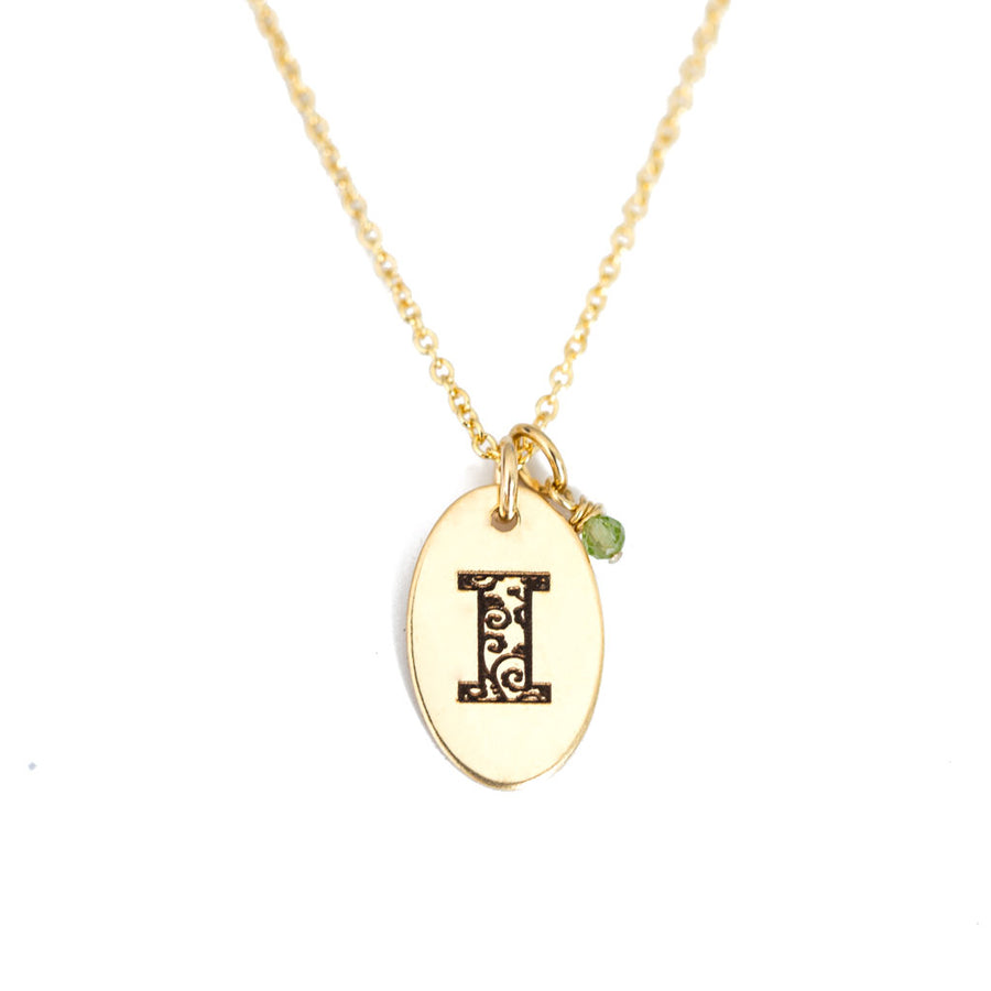 I - Birthstone Love Letters Necklace Gold and Peridot