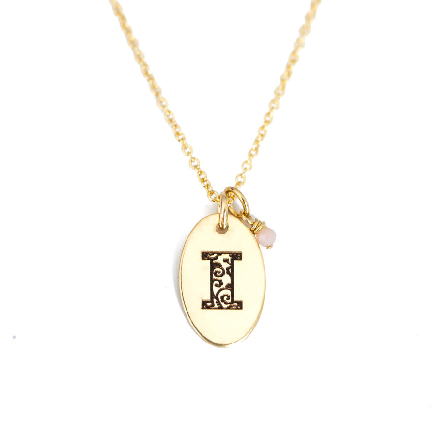 I - Birthstone Love Letters Necklace Gold and Pink Opal
