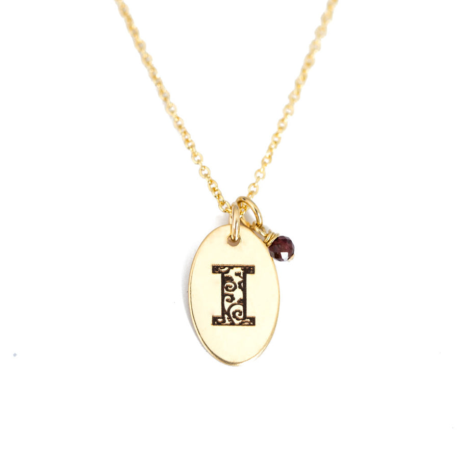 I - Birthstone Love Letters Necklace Gold and Red Garnet