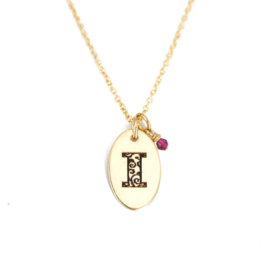 I - Birthstone Love Letters Necklace Gold and Ruby