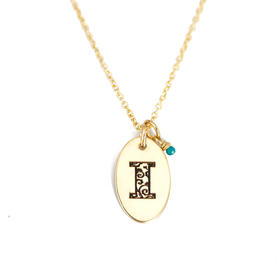 I - Birthstone Love Letters Necklace Gold and Turquoise