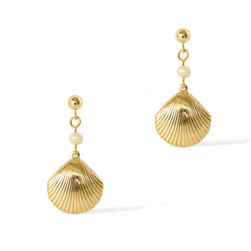 Impressions Golden Shell Earrings - Gold and Pearl