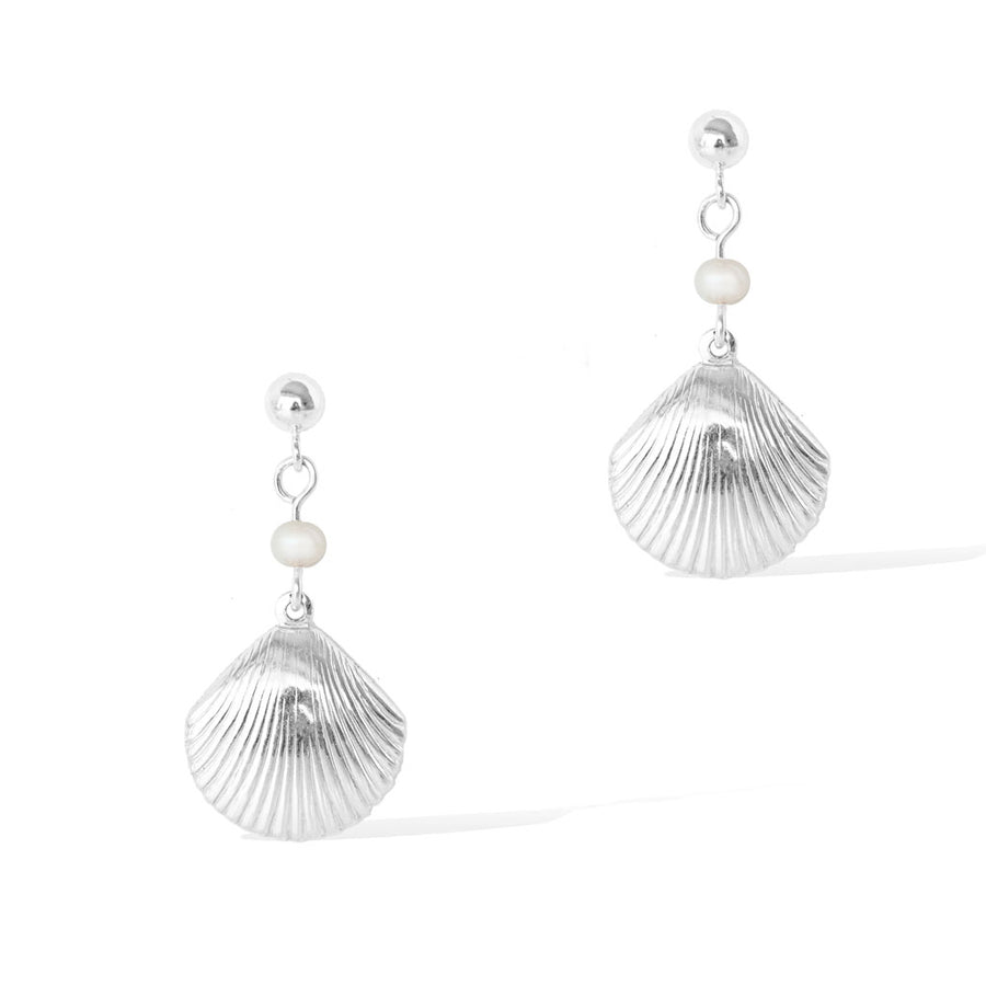Impressions Silver Shell Earrings - Silver and Pearl