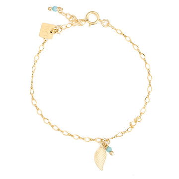 Impressions Little Leaf Bracelet - Gold and Amazonite