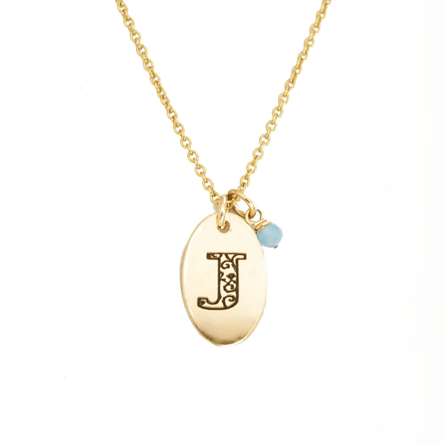 J - Birthstone Love Letters Necklace Gold and Aquamarine