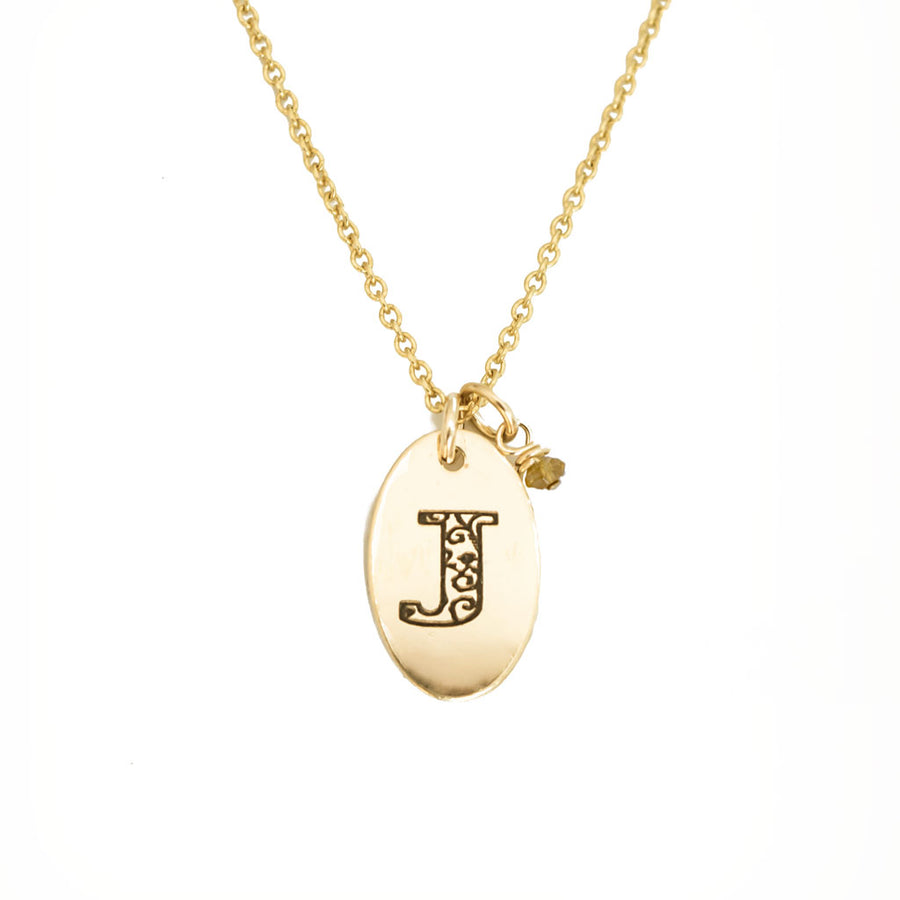 J - Birthstone Love Letters Necklace Gold and Citrine