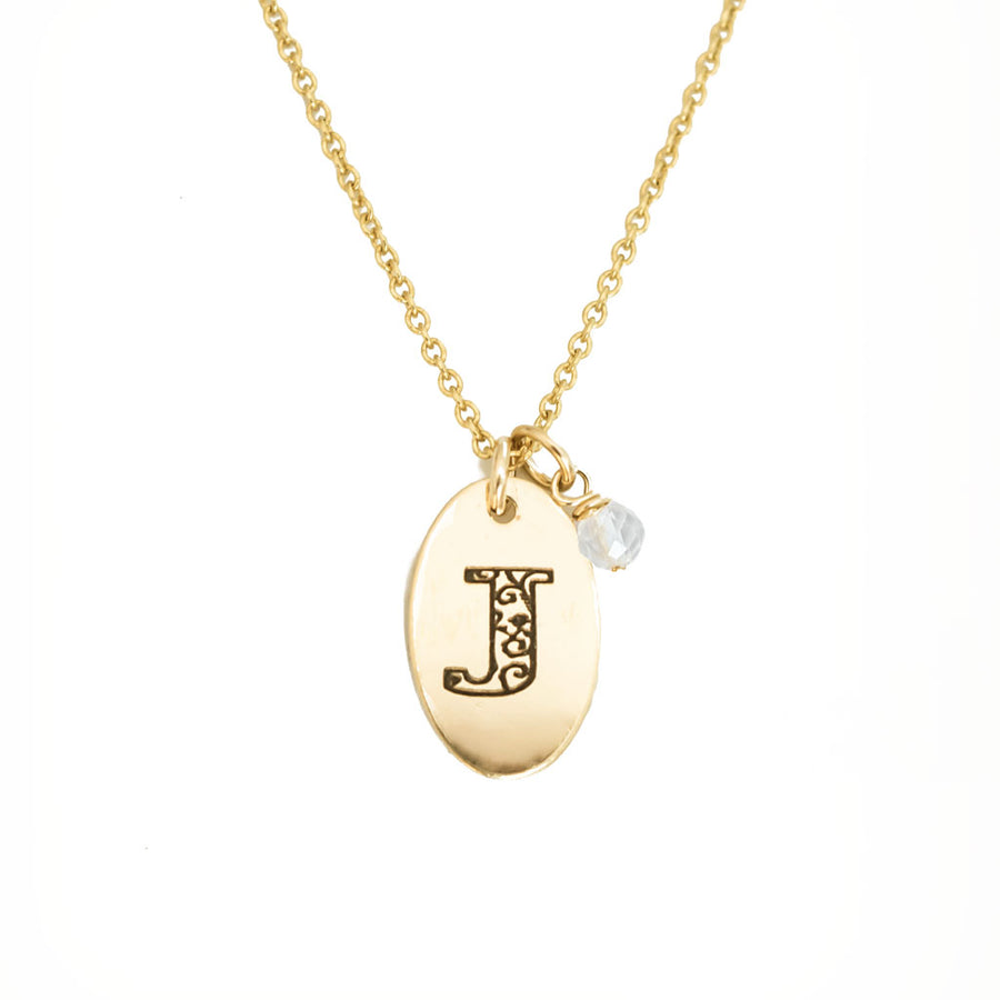 J - Birthstone Love Letters Necklace Gold and Clear Quartz