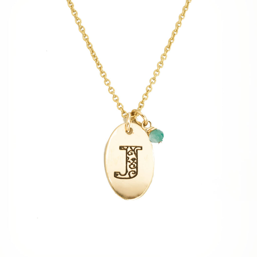 J - Birthstone Love Letters Necklace Gold and Emerald