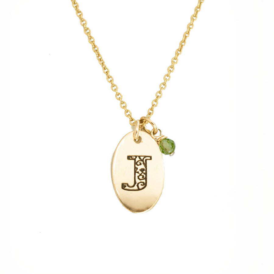 J - Birthstone Love Letters Necklace Gold and Peridot