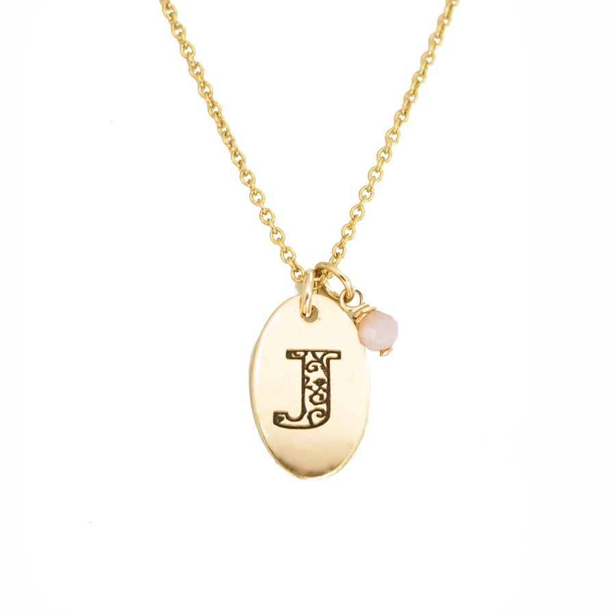 J - Birthstone Love Letters Necklace Gold and Pink Opal