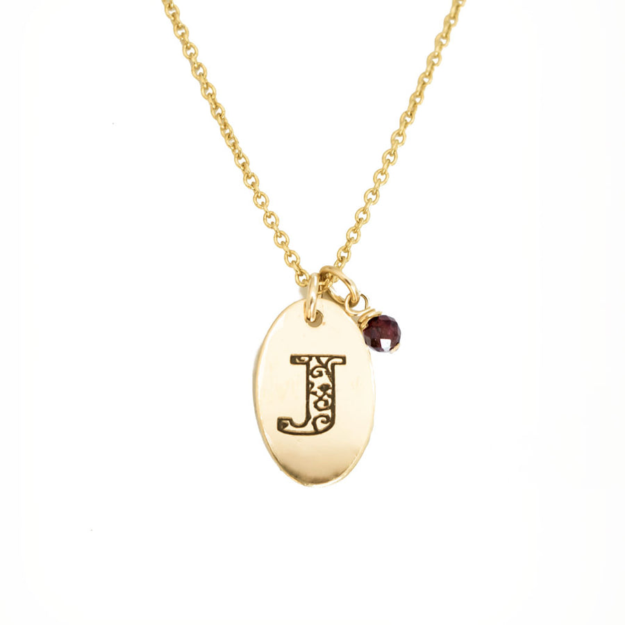 J - Birthstone Love Letters Necklace Gold and Red Garnet