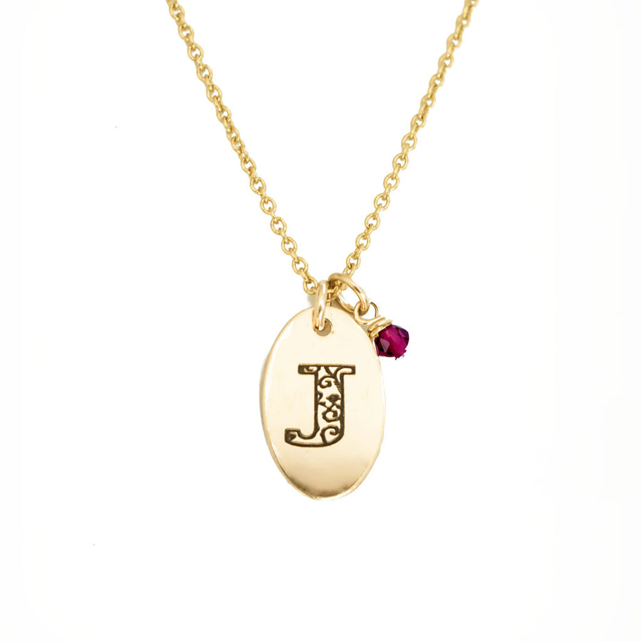 J - Birthstone Love Letters Necklace Gold and Ruby