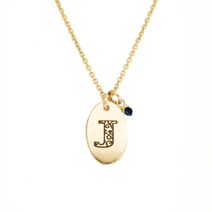J - Birthstone Love Letters Necklace Gold and Sapphire