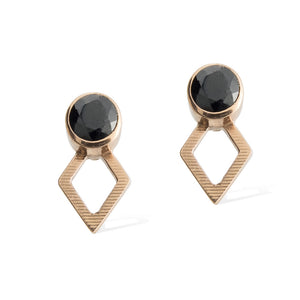 JAEGER EARRINGS -  Rose Gold with Black Spinel