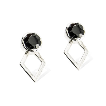JAEGER EARRINGS -  Sterling SIlver with Black Spinel